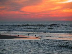 226-ondergaande zon strand